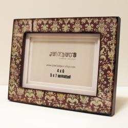 4x6 or 5x7 Matted Picture Frame Vintage Damask