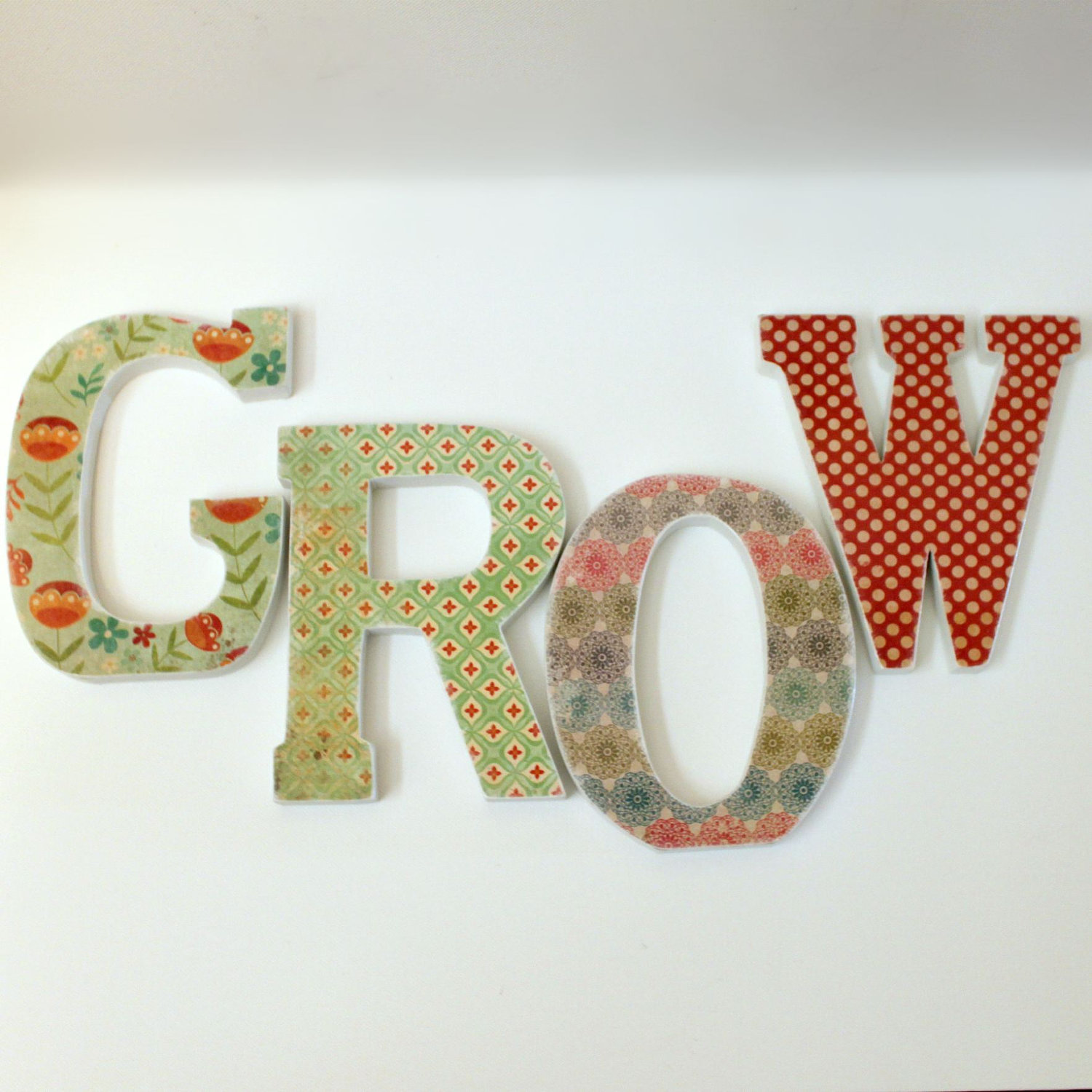 custom names words decoupaged wood letters